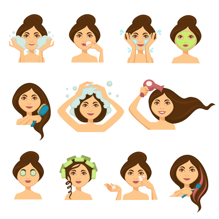 Woman skincare and hair washing vector woman face icons. Vector isolated set of young girl washing face with cleanser or facial cosmetic mask and moisturizer cream, shampoo hair and dry with dryer