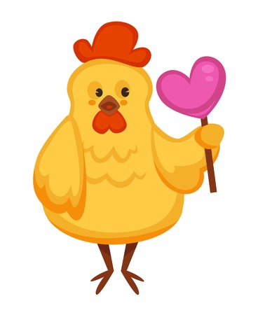 Cartoon chicken chick character for Easter or kid birthday greeting card design template. Vector isolated happy cute yellow chicken or chic with heart lollipop candy gift Illustration