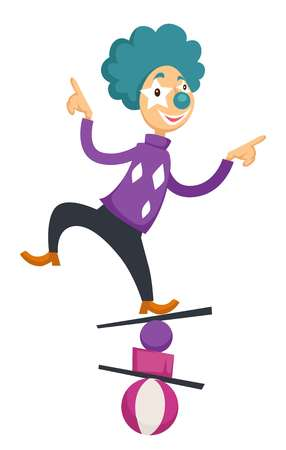 Clown in circus balancing on balls. Vector cartoon character icon of clown in bright costume and color wig for kid design