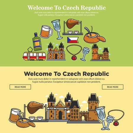 Welcome to Czech Republic banners for tourism travel of famous tourist landmark sightseeing. Vector Czech flag, food and drink cuisine, Prague castle at King Charles bridge and Bohemian crystal glass Illustration