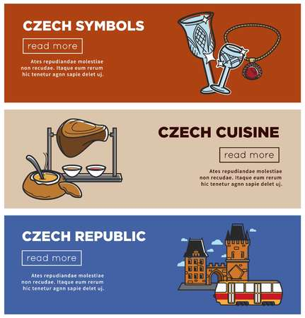 Czech Republic web banners of traditional symbols and national sightseeing landmark icons. Vector cuisine pork knuckle barbecue grill, architecture castle and Czech Republic Bohemian crystal glass Illustration