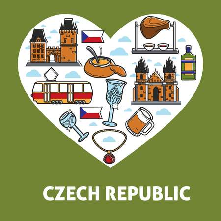Czech Republic heart poster of traditional symbols and national sightseeing landmark icons. Vector Czech Republic flag, food and drink, Prague tram or castle and Bohemian crystal glass