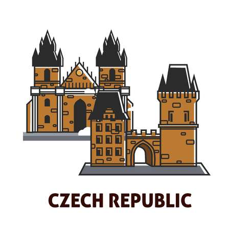 Prague Castle in Czech Republic sightseeing landmark symbol for travel destination and famous attraction. Vector isolated flat cartoon icon of royal castle