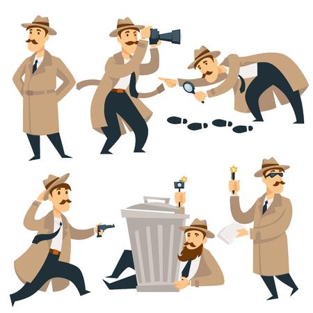 Détective sur enquête. Caractère de l'homme de dessin animé de vecteur en manteau de détective, chapeau et lunettes avec pistolet enquête sur la recherche de preuves et de traces de crime ou d'empreintes criminelles