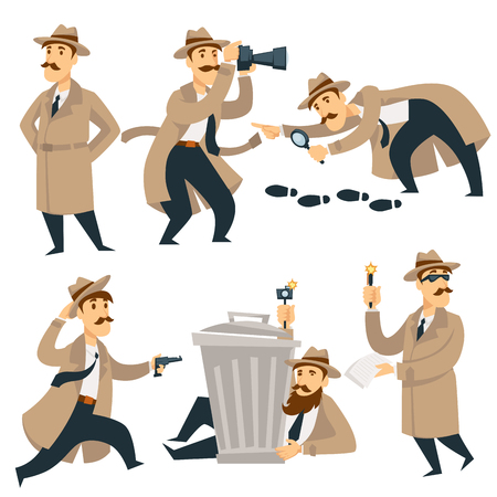 Detective man on investigation. Vector cartoon man character in detective coat, hat and glasses with gun investigates looking for evidence and crime traces or criminal footprints