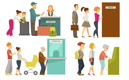 Lines to check-in counter, office door, information window and ATM. Family with little child that travels, men and women apply for job, elderly people and youth want to get cash vector illustrations.