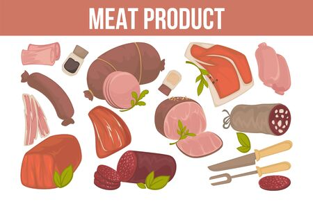 Meat product promotion banner with fresh animal origin food.Tasty sausages, fresh beef, juicy veal, tender ham, fat pork and cutlery isolated cartoon flat vector illustrations set on white background.