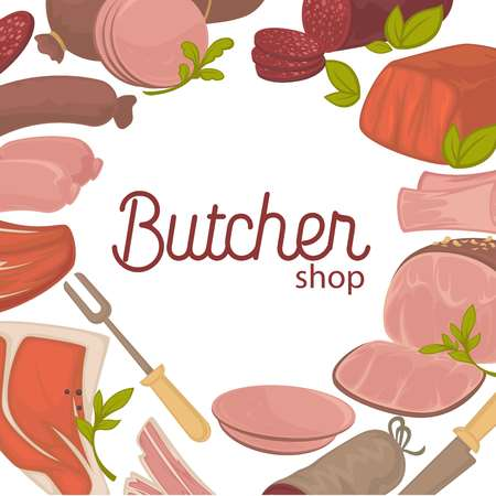 Butcher shop promotional banner with delicious fresh meat. Tasty products of animal origin commercial banner. Juicy sausages, tender beef and raw veal cartoon flat vector illustrations on poster.