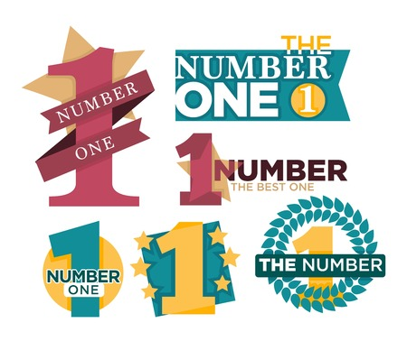 Number one emblems set with stars and ribbons around big numeral isolated cartoon vector illustrations on white background. Honorary distinctive sign for best and outstanding people and achievements. Illustration