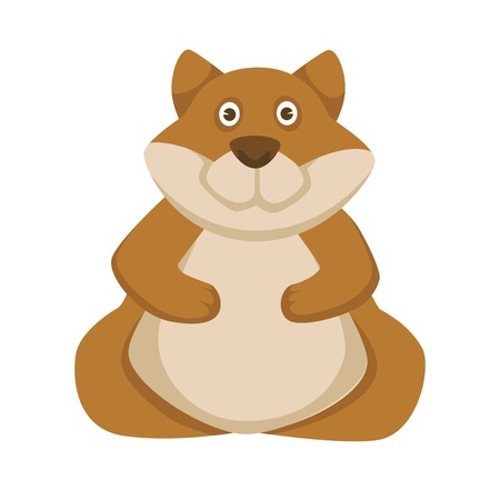 Funny plump hamster with big belly and ginger fur. Adorable pet from rodent family. Domestic animal with soft cheeks and round eyes isolated cartoon flat vector illustration on white background.