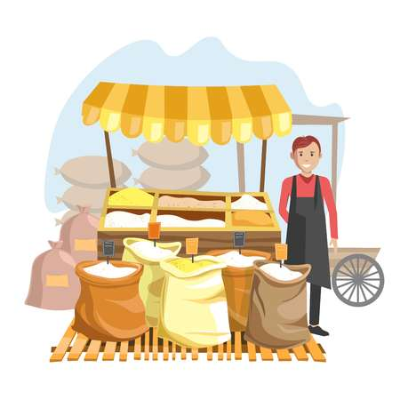 Street counter with tent full of cereals in sacks and seller in black apron. Natural organic products on market and friendly man isolated cartoon flat vector illustration on white background.