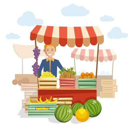 Wooden counter with delicious fruit and berries at market. friendly man sells organic products grown at farm in boxes under tent isolated cartoon flat vector illustration on white background.
