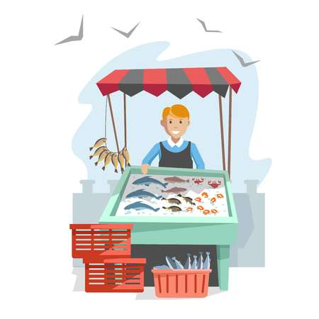 Market wooden counter with organic seafood on ice and seller in apron. Delicious fish, king shrimps and oceanic crab under tent and young friendly vendor isolated cartoon flat vector illustration.