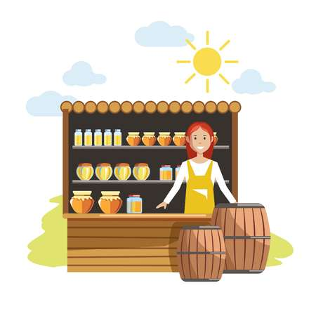 Street wooden counter with jars of sweet honey and female seller in apron. Delicious natural product from farm and woman-vendor isolated cartoon flat vector illustration on white background. Illustration