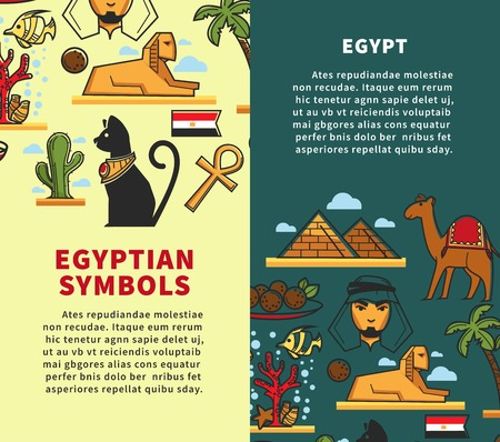 Egypt symbols travel company promotional vertical posters set. Vectores