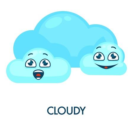 Symbole de temps nuageux avec des nuages bleus doux et heureux qui ont des visages.