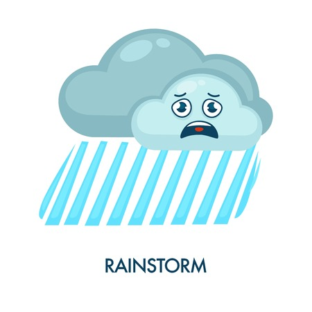 Rainstorm symbol with dark clouds with frustrated facial expression and heavy rain.