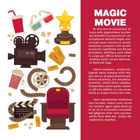 Cinema advertisement banner with symbolic cinematographic equipment, gold award and snack for seans inside circle isolated cartoon flat vector illustration. Stock Illustratie