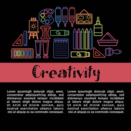 Kids creativity poster of art and drawing tools for children creative design education. Stock Illustratie