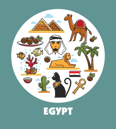 Egypt promotional poster with national symbols and architecture inside circle.