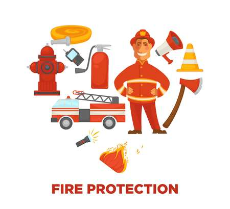 Firefighting and fire protection poster of extinguishing equipment tools. Illustration