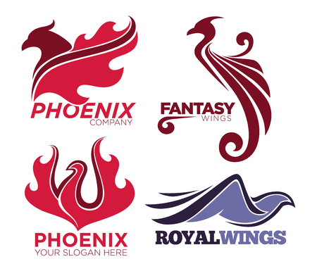 Phoenix bird or fantasy eagle logo templates set for security or innovation company. Illustration