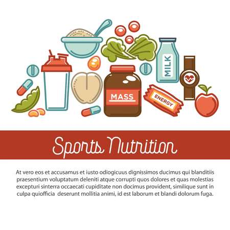 Fitness food poster of sports healthy diet food nutrition poster. Иллюстрация
