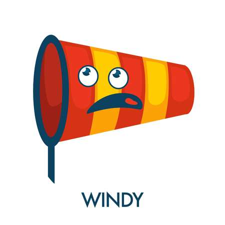 Windy day symbol in shape of nettle with confused face. Funny striped bright scoop-net with ridiculous face. Weather forecast icon isolated cartoon flat vector illustration on white background.