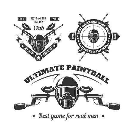 Paintball game sport club logo templates of gamer shooting target or paint ball gun and man skull in paintball mask with ribbons and stars. Illustration
