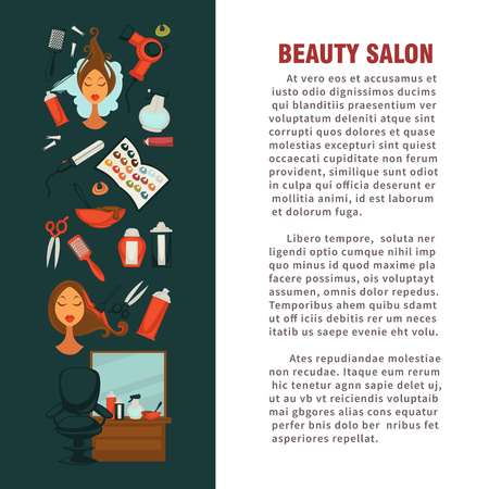 Woman hairdresser beauty salon poster flat design for hair coloring and styling.