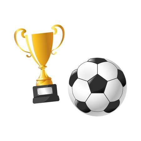 Football cup award soccer sport flat icons Illustration