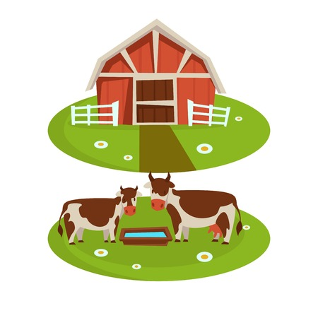 Farm house barn or farmer agriculture and cattle farming flat cartoon icons Illustration