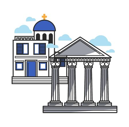 Greek modern and ancient architecture samples, isolated illustration Illustration