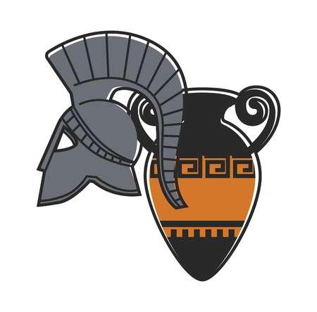 Ancient gladiator metal helmet and amphora illustration