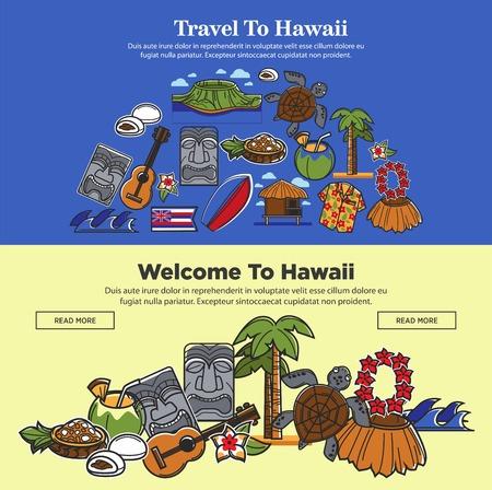 Hawaii travel web banners of Hawaiian sightseeings and famous culture landmarks