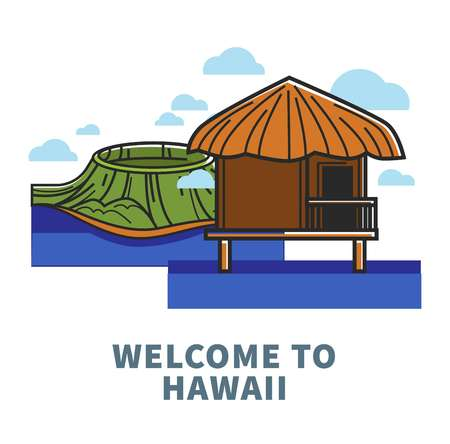Welcome to Hawaii promo poster with nature and nipa hut Ilustrace