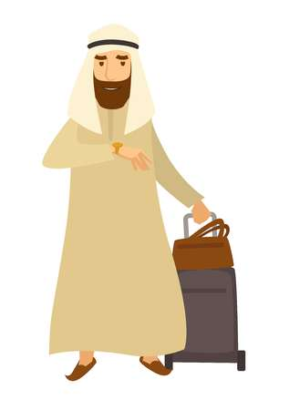 Saudi Arab man with travel bags, vector cartoon character Illustration