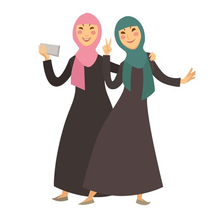 Saudi Arab Muslim women with smartphone, selfie vector cartoon characters