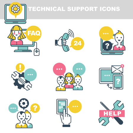 Technical support icons which symbolize help by phone or Internet