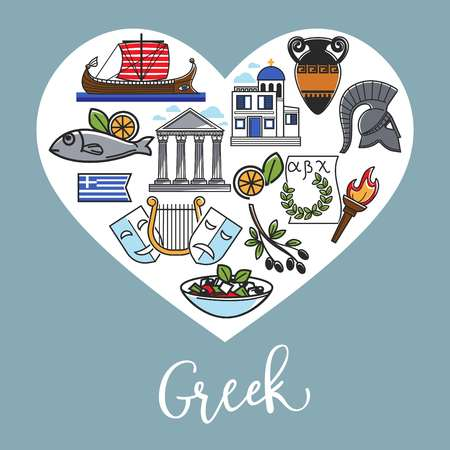 Greek national symbols inside heart shape promotional poster. Delicious seafood, ancient constructions, old relics and theatrical attributes isolated cartoon flat vector illustrations on banner.