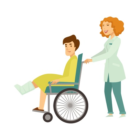 Nurse helping patient in wheelchair vector cartoon characters Stock Illustratie