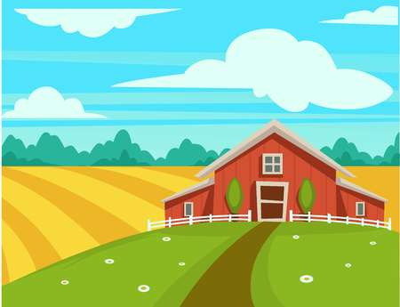 Farm house or farmer household agriculture scenery vector cartoon design