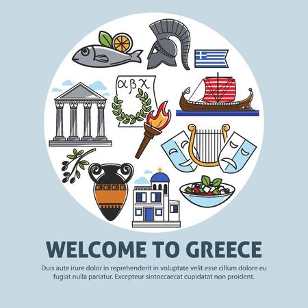 Greece travel welcome poster of Greek sightseeings and famous culture landmarks icons Illustration