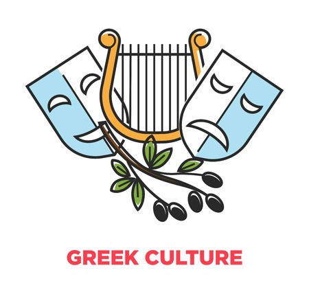 Greek culture promo poster with ancient theatrical symbols and olives