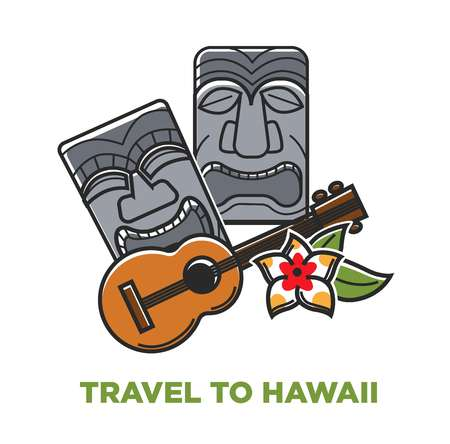 Travel to Hawaii poster with stone statues and acoustic guitar