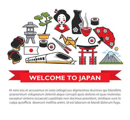 Welcome to Japan travel poster of Japanese culture famous sightseeing landmarks and attractions icons