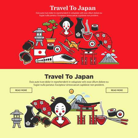 Japan travel web banners of Japanese sightseeings and famous culture landmarks Illustration