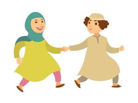 Saudi Arab Muslim couple or kids happy walking vector cartoon characters Illustration