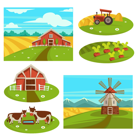 A Farm household or farmer agriculture vector flat farming field and cattle pasture Illustration