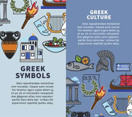 Greece travel posters of Greek famous sightseeing symbols and culture landmarks icons